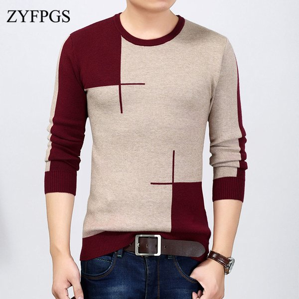 ZYFPGS 2018 New Winter Men's Korean Thick Sweaters Round Neck Woole Knitted Pullover Wild Jumper for Man Bottoming Sweater 914