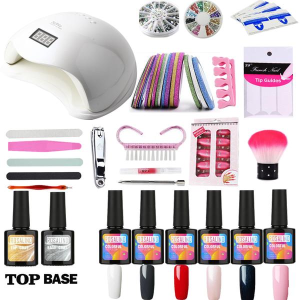 Set For Manicure Nail Art Set UV LED LAMP Dryer 6 Color Acrylic Gel Nail Polish kit Gel Varnish Lacquer Manicure Tools Kit