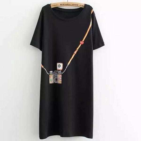 2018 neue Mode T-Shirt Frauen T-Shirt große Größe Sommer einfache Kamera gedruckt lange Abschnitt der weiblichen Tshirt große Größe