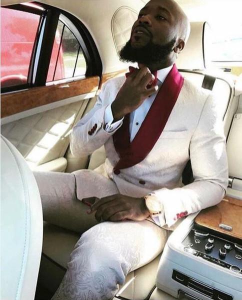Реальные изображения слоновая кость двубортный свадебные смокинги для жениха Красный Шаль лацкан из двух частей пользовательские формальные мужские костюмы мужчины Пром костюм (куртка + брюки)
