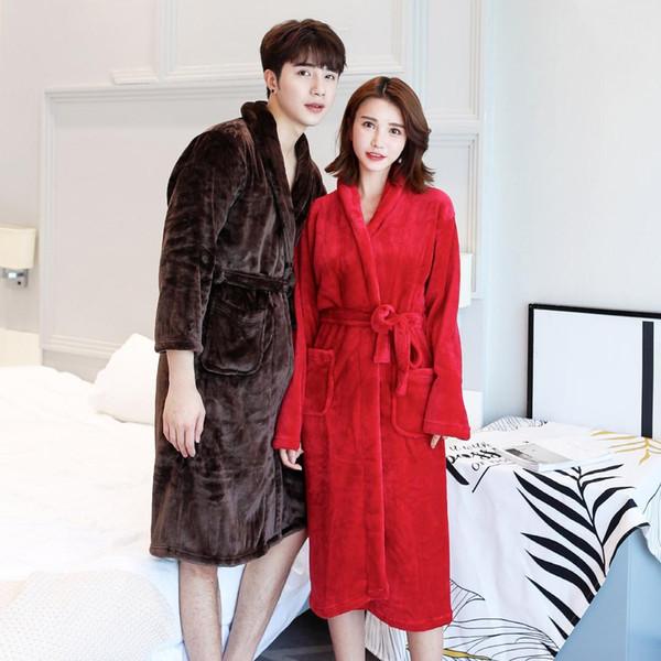 Ladies Female Flannel Couple Nightgown Fleece Warm Robe Coral Velvet Pajamas Home Wear Long Sleeve Bathrobe