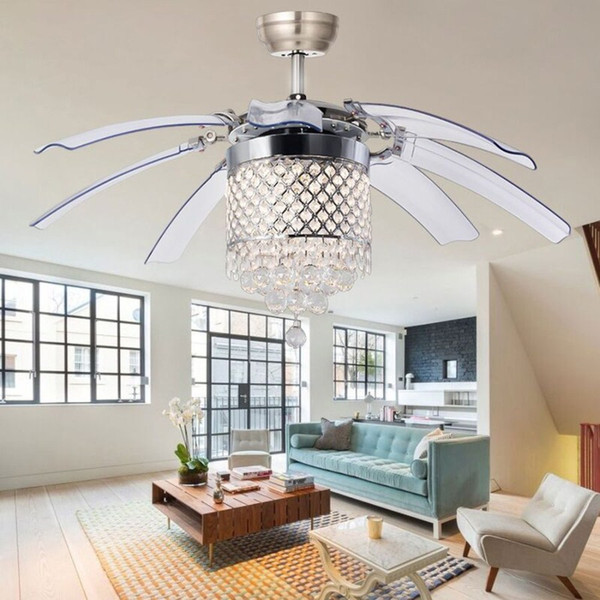 Modern Crystal Ceiling Fan Lamp for Living Room Bedroom Restaurant 42 Inch Remote Chandeliers Ceiling Light with 8 Foldable Invisible Leaves