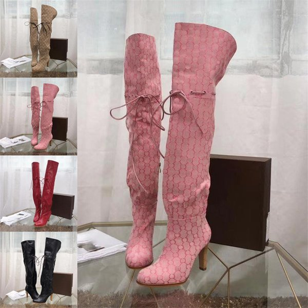 """3.5"""" Heel Original Canvas Over The Knee Boot Luxury Brand Boots Booties Beige/Ebony Hibiscus Leather Cinched Self-Tie Detail Shoes 0G002"""