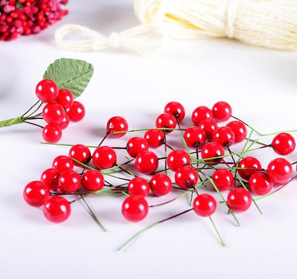 Mini Pearl Plastic Stamens Artificial Flowers Fruit Stamens Cherry for Wedding Christmas DIY Gift Box Wreaths Decoration GA586