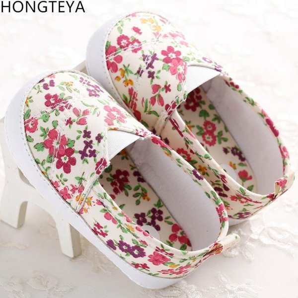 Wholesale- Hongteya New arrived style infant shoes girls canvas flora baby moccasins first walkers baby girls casual Infant Anti-skip shoes