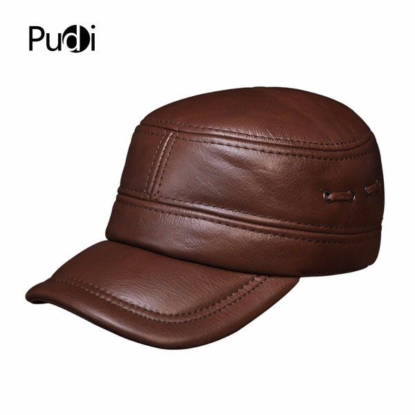 af8ce7e7d32fa HL081 Mens genuine leather baseball cap brand new winter warm real cow leather  caps hats