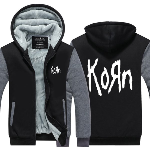 2019 Men Velvet Thicken Hooded Sweatshirts Korn Band Zipper Hoodies Winter Cardigan Jacket Coat Pullover USA EU Size Plus Size From Fashionshopper,