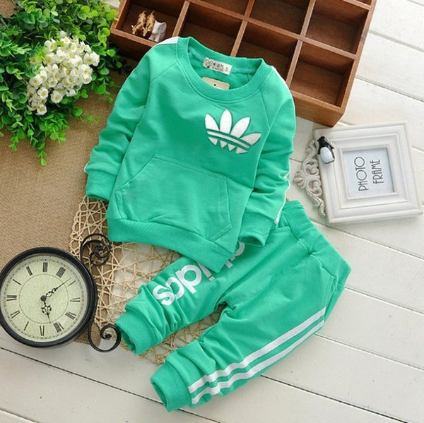 2018  Baby Boy Clothing Suits Autumn Casual Baby Girl Clothes Sets Children Suit Sweatshirts+Sports pants Spring Kids Set