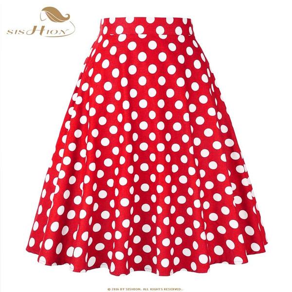 SISHION 2018 Blue Red Black White Women Skirts Polka Dot High Waist Vintage Skirt Skater Midi Skirt faldas mujer Plus Size 177S2Y1882501