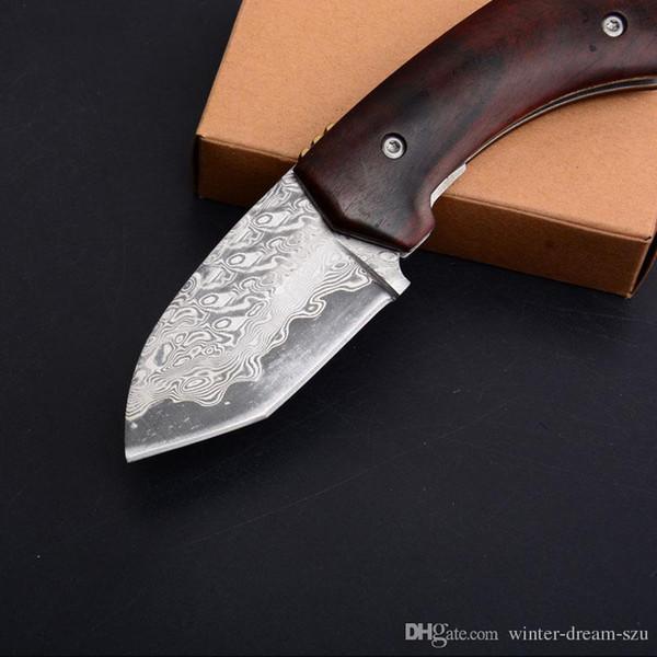 Mini Damas Blade Folder Bois Poignée Camping En Plein Air Couteau Pliant Chasse Tactique EDC Survie Rescue Couteaux P477Q