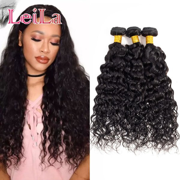Brazilian Virgin Hair Mix Length 8~28inch Brazilian Hair Extensions Natural Color Human Hair Weaves Wavy Water Wave 3Pieces/lot