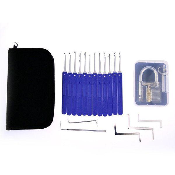 Set di grimaldelli professionale da 17 pezzi 1 lucchetto trasparente con grillo in plastica per l'addestramento del fabbro Attrezzi del fabbro Utensili manuali