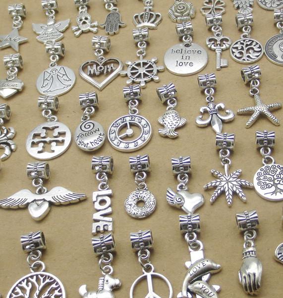 Mixed The Ancient Silver Bracelet Beads Tibetan Antique Silver Dangle Charms Bulk, Vintage DIY Alloy Pendant Jewelry Accessories#S