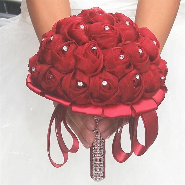 Matrimonio Artificiale Fiori Mazzi di fiori per Spose Rose fatte a mano Bouquet da sposa Bouquet da sposa rosa avorio rosso Decorazioni di nozze