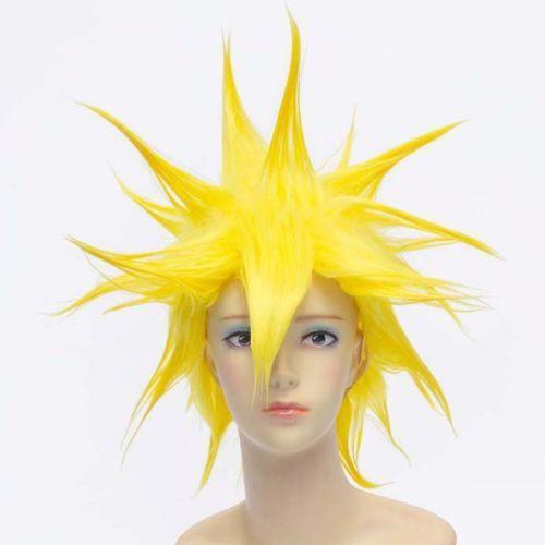 Сверкающий Желтый Анти-Алиса Волосы Короткие Аниме Dragon Ball Vegetto Косплей ПарикБесплатная доставка Новый Высокое Качество, Мода Картинка парик