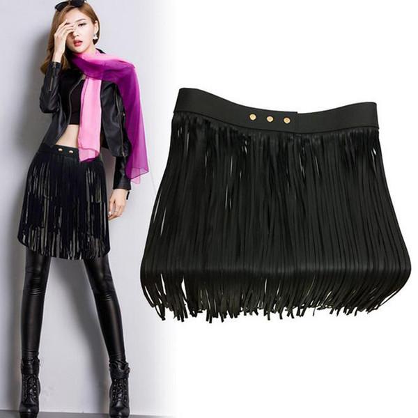 Cintura nera con nappe in ecopelle Cinture da donna di marca a vita alta Trendy da donna Lons accessori di abbigliamento