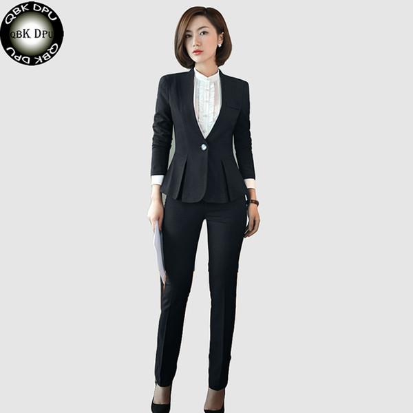 QBK DPU brands Business attire slim OL office women suits blazer set 2017 new arrival plus size 4XL Black business suits