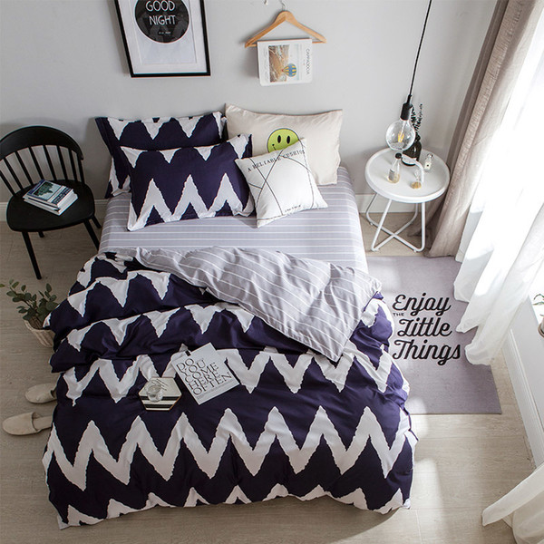 Trendy Cartoon Smiley Face Christmas Elk Striped Star 3/4pcs Bedding Set Includes Duvet Covered Bed Sheets and Pillowcases