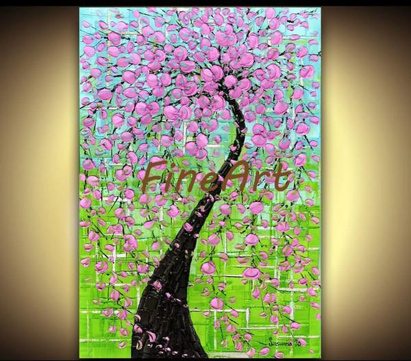 100% peint à la main arbre art palette couteau texture peinture à l 39