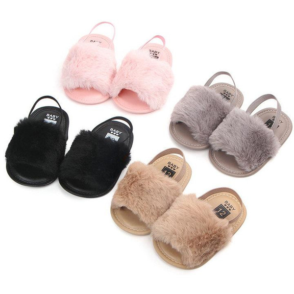 Новорожденных девочек Меховые сандалии Модный дизайн детские Меховые Тапочки Теплые Мягкие Детская домашняя обувь дети малыш сплошной цвет