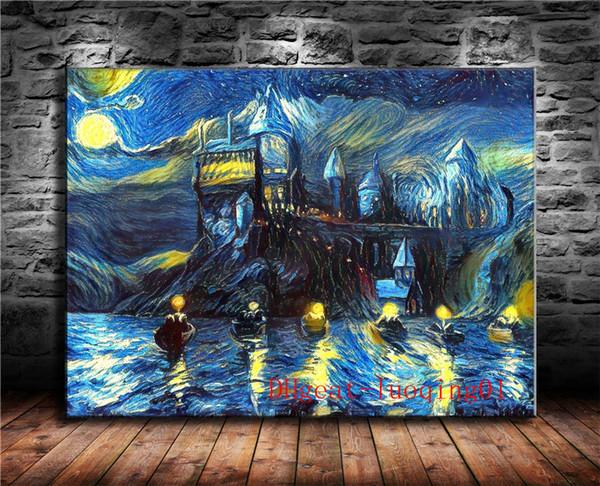 Hogwarts Burg Van Gogh, Leinwand Stücke Home Decor HD gedruckt moderne Kunst Malerei auf Leinwand (ungerahmt / gerahmt)
