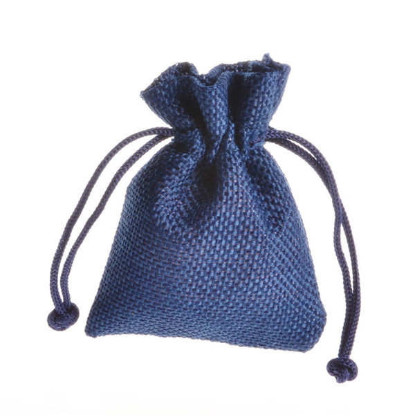 Royal Blue Flax Gift Bag 7x9cm Pack of 50 Birthday Party Wedding Favor Holders Jewelry Linen Pouch