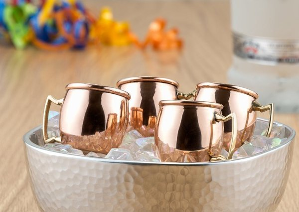 4pcs 2oz Stainless Steel 18 /8 Drum Shape Copper Plated Moscow Mule Mugs Shot Glass Mini Shot Copper Mug Handled
