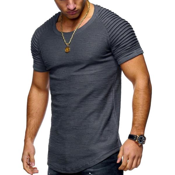 2018 Fashion Summer Jogger Men Solid T shirts Casual Slim Fit Ribbed Shoulder Biker Elastic White&Black Short Sleeve Tops Shirt S917