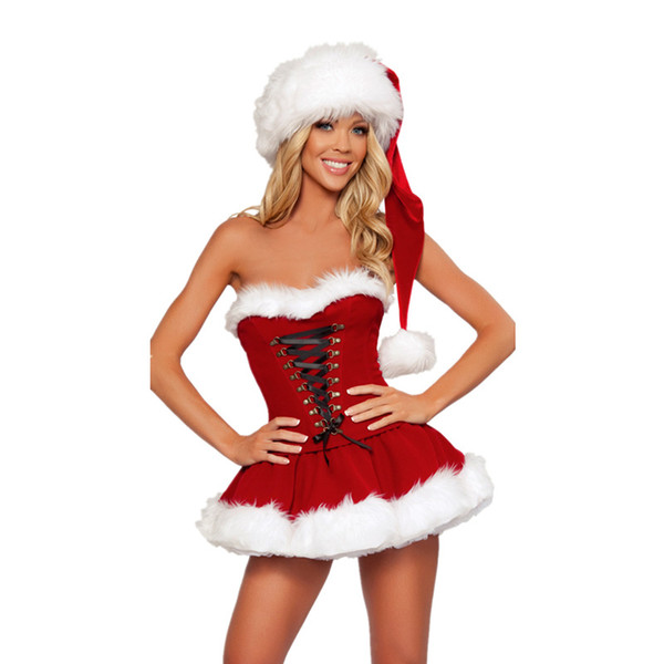 New Adults Women Christmas Dress Sexy Velvet Christmas Costumes Santa Claus Cosplays for Party Dress With Hat