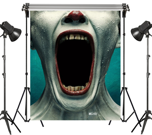 Polyester & Vinyl Halloween Prank Screaming Clown's Hunge Mouth Frightening Backgrounds For Photo Studio Photography Backdrops