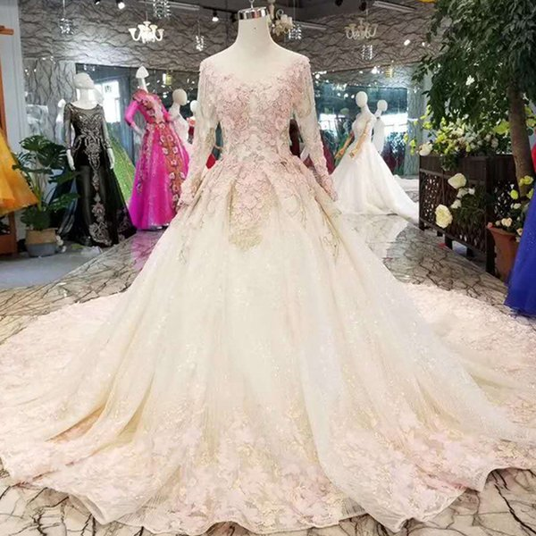 Cheap Wedding Party Dress Pink Flowers Long Sleeve Lace A-Line Simple Wedding Dress Princess Royal Train Lace Up Tulle Back