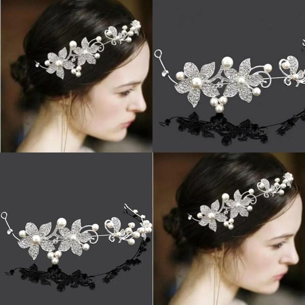 Hair Flowers For Wedding Party Bridal Bridesmaid Baroque chic Crystal Pearls tiara Rhinestone crown headband Wedding Dress