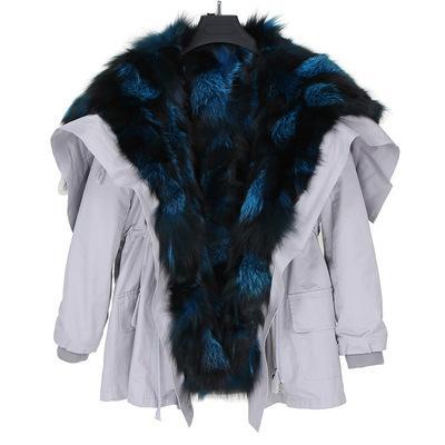 Silver blue fox fur Threshold trim women snow coats silver fox fur lining white Angel Wings mid long parkas