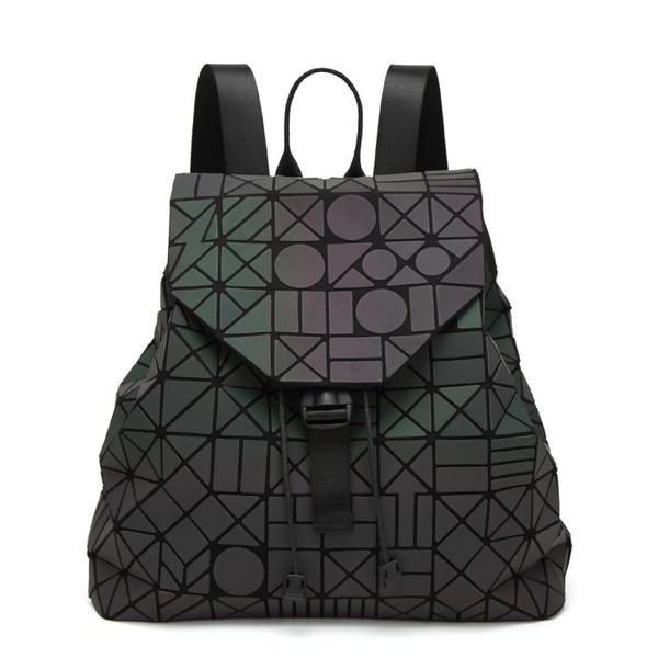 2017 new PVC noctilucent patchwork women backpacks japanese style teenage girls school bags geometric luminous baobao backpack
