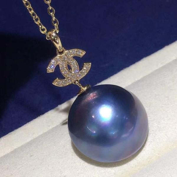 Con incrustaciones de oro de 14 k con cuentas de agua de mar profundo australiano natural puro Aurora Mabe colgante de perlas pp08 #