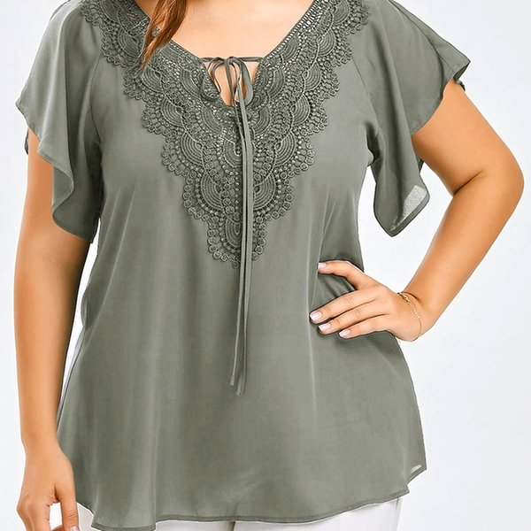Plus Size 5XL Women T-Shirt Tees Casual Female Lace-up V-Neck Short Sleeve Tops Lace Crochet Ladies T-Shirts Chiffon KH844316