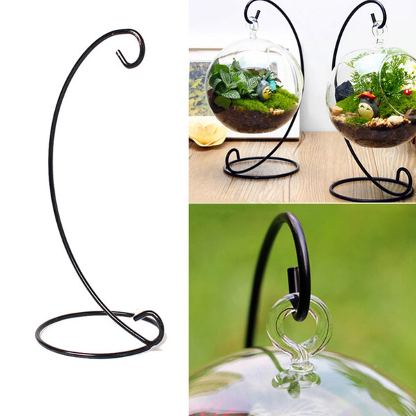 top popular Iron Candle Holder Moroccan Candlestick Glass Ball Hanging Bracket Stand Vintage Lantern Candle Holder Wedding Home Decor YFA278 2021