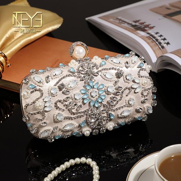 Damen Pearl Abendtaschen Clutch Bags Abend Clutch Bag Hochzeit Braut Handtasche Perle Perlen Lace Rose Fashion Strass