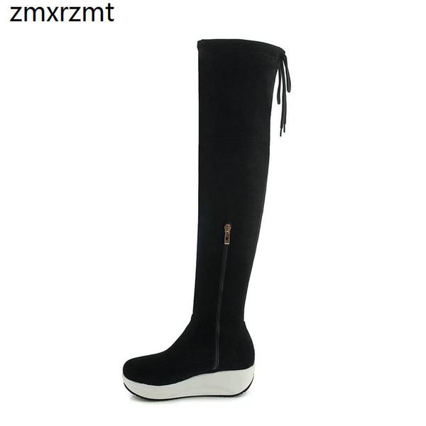 2019 moda feminina sobre o joelho alto sapatos femininos primavera outono sapatos 4 cm med calcanhar festa casual tamanho grande 34-43