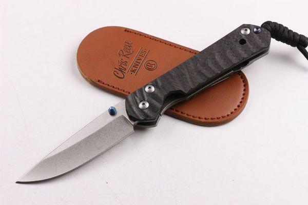 Chris Reeve 60-62HRC D2 Blade carbon fiber titanium handle pocket Knife Hunting Survival Tools Xmas gift knife for man 1pcs