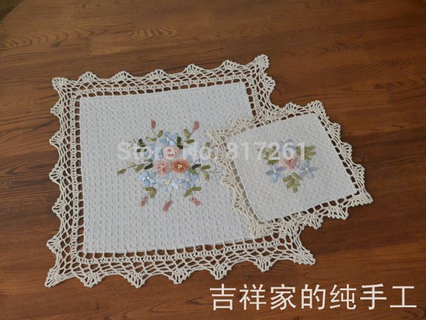 Free shipping IKKA fashion square pits kitchen crochet lace doilies felt as innovative item for dinning table pad coasters mat
