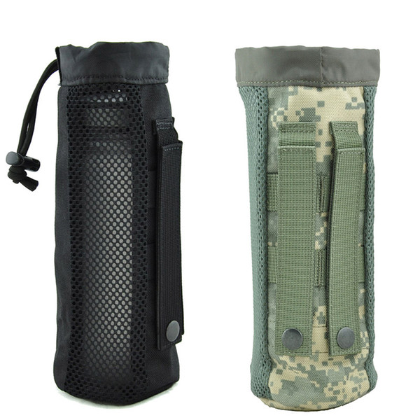Tactical Water Bottle Pouch MOLLE water kettle Holder 1000D Nylon waterproof Travel Drawstring Drinking Bottle Carrier for Outdoor Sports