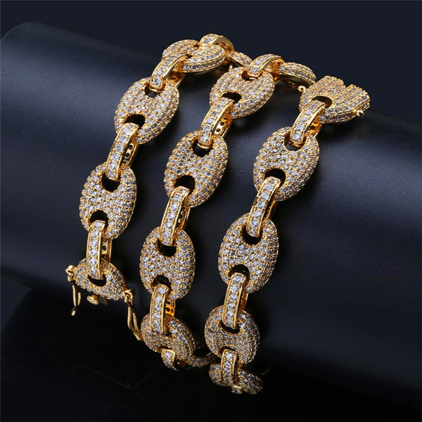 Bling CZ Gold Silver Necklace for Men Fashion Hiphop Jewelry Ice Out Chains Luxury Hip Hop Zirconia Necklace