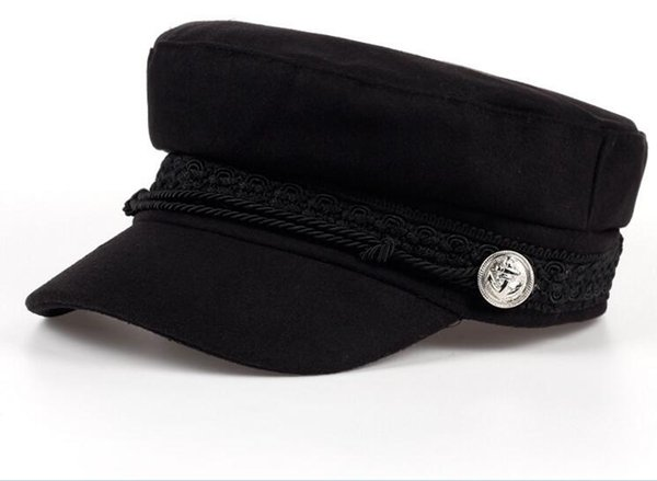 Wholesale Winter Hats For Women Men Octagonal Cap Wool Button Baseball Caps Sun Visor Hat Gorras Casquette Touca Black Casual