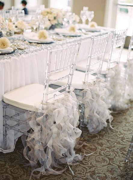 2018 High Quality Ruffles Chair Covers Organza Classic Wedding Chair Sashes New Arrival Bridal Supplies Decorations