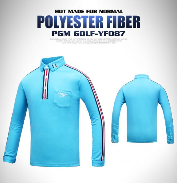 2018 PGM Golf Wear Children's long sleeved T-shirt Boy's Breathable Moisture Absorption High Elastic Clothing size S-XL