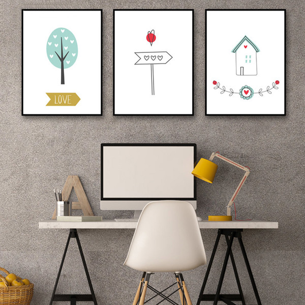 Posters Hd Prints Art Canvas Painting Wall Cartoon Love Tree House Pictures For Living Room Nordic Style Decoration Watercolor