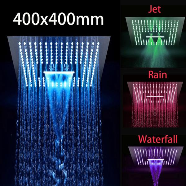 Livraison gratuite salle de bains 400x400mm multi-fonction 3 voies carrée dans le mur 304 sus conduit grande tête de douche de pluie avec la pluie, cascade, jet de massage