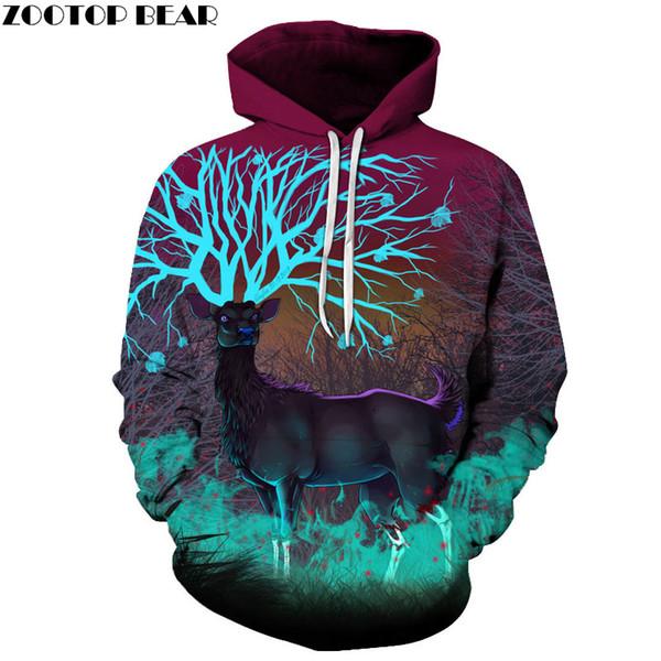 Deer Printed 3D Hoodies Animal Men Women Sweatshirts Funny Cool Men Jackets Fashion Pullover Casual Tracksuits Brand 6XL Coat