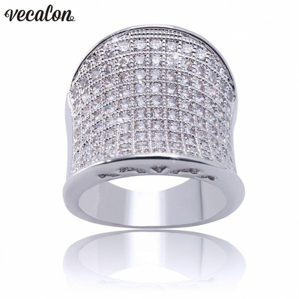 Vecalon Vintage Hiphop Ring 925 Sterling Silver Pave setting Diamond Cz Engagement bands rings for women men Finger Jewelry